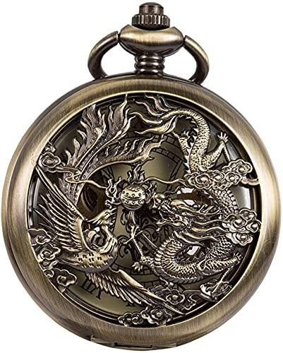 EURYTKS Reloj de Bolsillo P Nix Antiguo y Esqueleto de dragón Reloj de Bolsillo mecánico para Hombre Viento de Mano Regalo de Acción de Gracias de Navidad