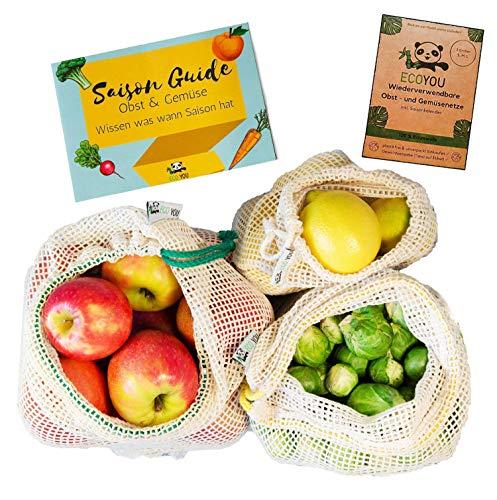 EcoYou® Gemüsebeutel Bio-Baumwolle wiederverwendbar 3er Set (S,M,L) mit Gewichtsangabe Zero Waste Obstnetz & Gemüsenetz für den plastikfreien Einkauf NACHHALTIGE Einkaufsnetze + Saisonkalender