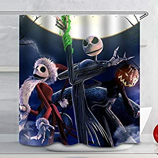 Moonlight Madness Skull Theme Shower Curtain Disney Nightmare Before Christmas Fabric Shower Curtain Sets Bathroom Halloween Decor with Hooks Waterproof Washable 72 x 72 inches White Blue Black
