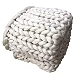 100% Merinowolle Decke handgewebte Chunky Knitted Decke sperrige Throw für Sperrige Sofa Soft Fluffy sperrige Wolle Throw , creamy-white , 130 * 170cm