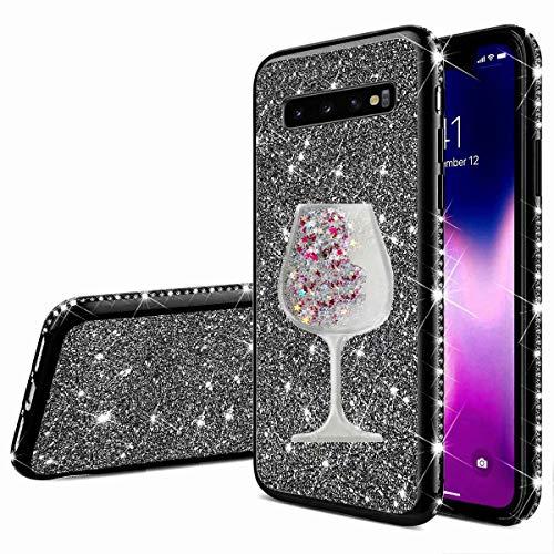 Nadoli Galaxy S10 Glitzer Hülle,Kristall Diamant Strass Bumper mit 3D Fließend Flüssig Treibsand Weinglas Silikon Handyhülle Frauen für Samsung Galaxy S10