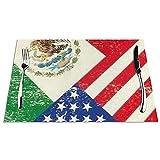 Manteles Individuales con Bandera Mexicana Americana, Mantel Individual de PVC Lavable para Mesa de Cocina, tapetes Resistentes al Calor, 1 Pieza