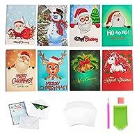 クリスマスカード 5D DIY ダイヤモンドペインティング サンタクロース 鹿 雪だるま ベル ユニコーン ダイヤモンドアート グリーティングカード アート ラウンドダイヤモンド 挨拶 感謝 カード ホリデー 家族や友人のためのカードクリエイティビティー 8枚パック