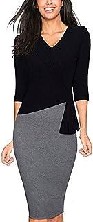 Colyanda Womens Elegant Patchwork 3/4 Sleeve Wear to Work Sheath Business Dress