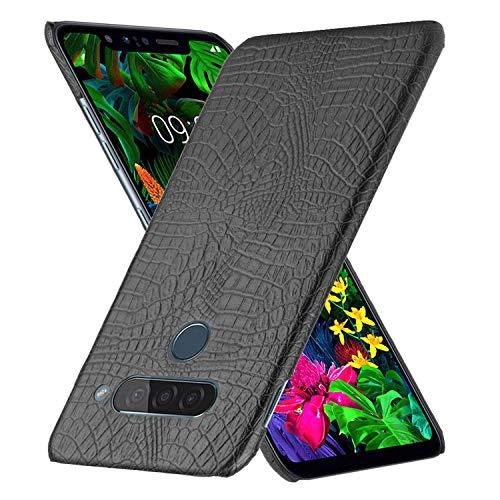 HualuBro Handyhülle für LG G8S ThinQ Hülle, Premium PU Leder Ultra Slim Stoßfest Schutzhülle Lederhülle Back Bumper Hülle Cover für LG G8S ThinQ Tasche (Schwarz)