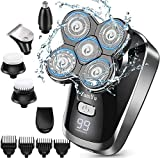 ZumYu Bald Head Shaver for Men, 6 in 1 Electric Head Shaver Grooming Kit for Men Wet and Dry with LED Display, Flex Series, Rotary Cordless Rechargeable Electric Razor with Nose Hair Trimmer