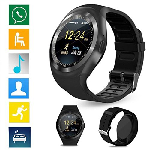 Y1 Bluetooth Smartwatch Intelligenz 2.0 MP camera, SIM, pedometer, slaapmonitor, Wiko Fever, Lenny, Lenny 2, Sunset 2, Bloom, Raimbow zwart