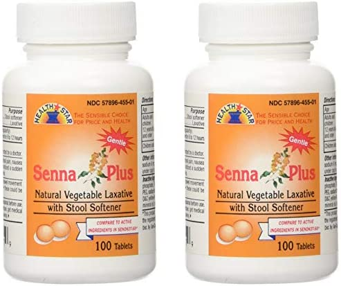 Senna Plus Natural Vegetable Laxative with Stool Softener - 100 Tablets