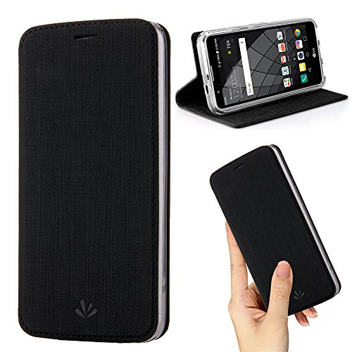 DLHLLC Moto G7 Case,Premium Flip Leather Wallet Case Stand Kickstand Card Slot Magnetic Full Body Protective Cover Clear TPU Bumper Thin Case for Motorola Moto G7 (Black, Moto G7)