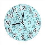Kncsru Reloj de Pared Redondo Reloj de Pared silencioso sin tictac Robots Decorativos Cocina Interior Sala de Estar Oficina Reloj Redondo Moderno Número