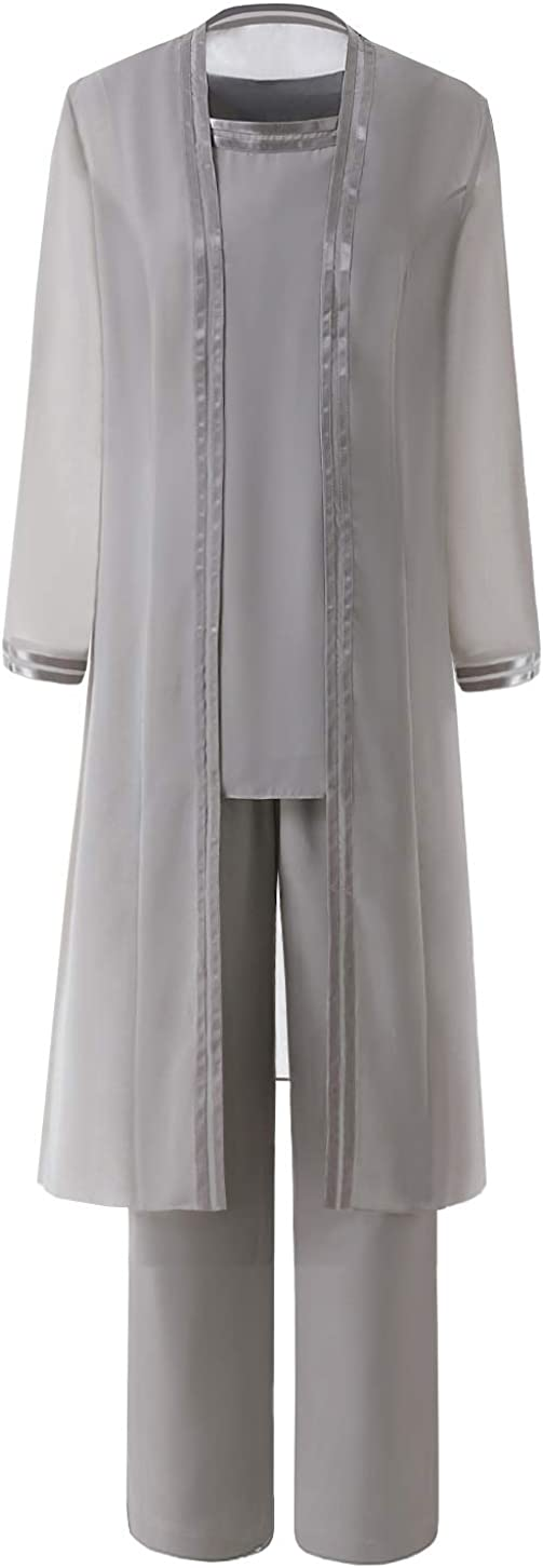 Fitty Lell Women's Chiffon Pant Suits Plus Size 3 Pieces with Long Sleeves Jacket Mother of The Bride Dress