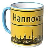 WANDKINGS® Tasse, Skyline Hannover - BLAU