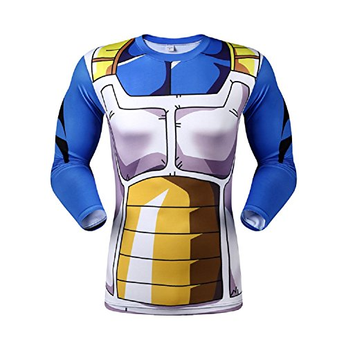 Dragon Ball Z Compression T Shirt Goku Super Saiyan Skin Tight Muscle Gym Battle Armor 3D Sport Shirt L