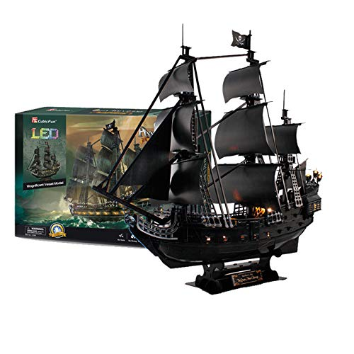 XUEER 3D Puzzles Pirate Ship And Sailboat Vessel Black Pearl Highly Difficult Model Kit Ship Queen Anne's Revenge (Large With LED Lights) Building Gift For Adults And Kids 340 Pieces