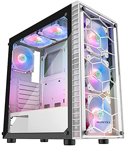 MUSETEX Computer Case 6pcs 120mm ARGB Fans and USB 3.0 Tempered Glass Panel PC Gaming Cases, Supports ATX/Micro-ATX/Mini ITX Motherboard Computer Chassis, White Mid Tower ATX Case (G05N6-BB)
