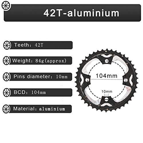 / Compatible Plato Mtb 64Bcd 104Bcd 24T / 32T / 42T Anillo De Cadena De Bicicleta 3 * 10S Juego De Bielas Triple Juego De Bielas De Aluminio Carretera De Bicicleta De Montaña Piezas De Bicicleta