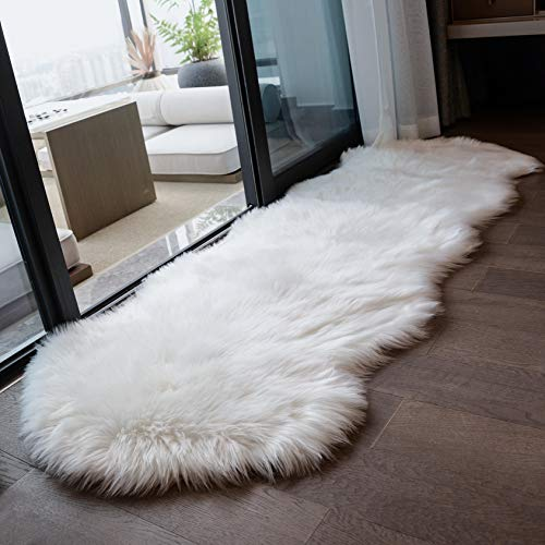 Coumore Ultra Soft Faux Sheepskin Fur Rug White Fluffy Area Rugs Chair Couch Cover Fuzzy Rug for Bedroom Bedside Floor Sofa Living Room, 2x6 Feet White