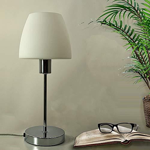 LED-Glas-Tisch-Leuchte-Lampe Anna, Chrom, Glas weiß, H: 37 cm, Schirm D: 15,5cm, inklusive LED-Leuchtmittel E14 4W x 1, Nachttisch-Schreibtisch-Fensterbank-Kommode-Leuchte-Lampe