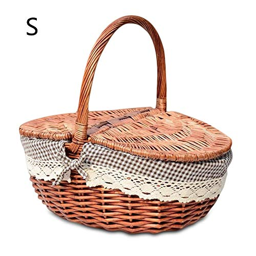 Flyinghedwig Handmade Wicker Basket with Handle, Wicker Camping Picnic Basket with Double Lids, Shopping Storage Hamper Basket with Cream Lining, Two Colors (Coffee, Small)