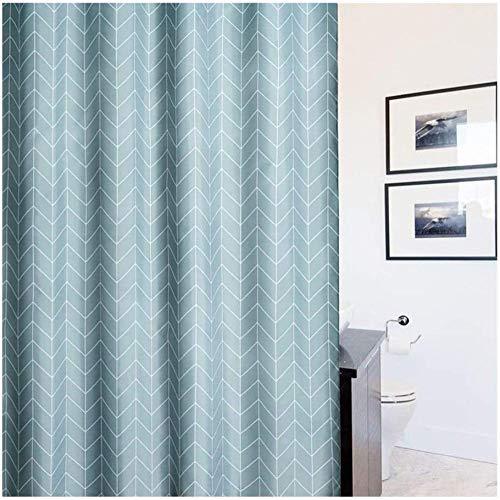 QAZX Badezimmerzubehör Duschvorhang Schimmelpilzwiderstandsfähig wasserdichte Badvorhänge 100prozent Polyester mit weichem Magnetstreifen Badvorhang Grau-Blau (Größe: 180x180cm)