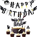 JeVenis 17 Sorcier inspiré Joyeux Anniversaire bannière Assistant de fête d'anniversaire Fournitures fête Sorcier gâteau Topper thème Sorcier Cupcake Toppers