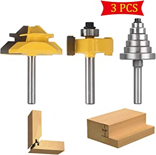 Router Bit Set 1/4 Inch Shank 45 Degree 3/4 Inch Stock Joint Lock Miter Bit and Rabbet Router Bit Set with Interchangeable Bearings for Woodworking, Composition Materials, Plywood, Hardwood, and Softw