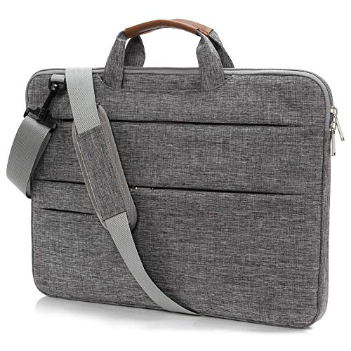 KINGSLONG Laptop Case with Shoulder Strap 15 15.6 inch Slim Laptop Carrying Sleeve Notebook Computer Ultrabooks Protective Cover for MacBook Pro HP Acer Asus Dell Lenovo, Grey
