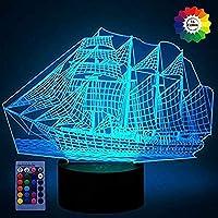 3Dヨットの夜ライトUSB電源リモコンのタッチスイッチの装飾テーブルデスク光学錯覚ランプ7/16色の変更ライトLEDテーブルランプクリスマスホームラブレイデー子供たち子供たちの装飾おもちゃの贈り物