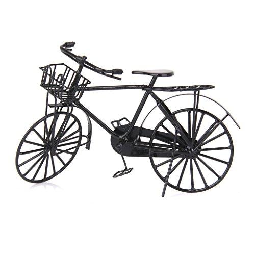 Milageto 12th Dollhouse Miniatura Bicicleta de Metal Negro para El Jardín de Su Casa Juguete Decorativo
