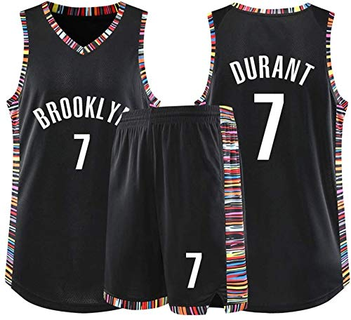 YB-DD Jersey di Pallacanestro Maschile - NBA Jersey Nets N ° 7 Kevin Durant Adulti Bambini Unisex Traspiranti Pallacanestro Abbigliamento Sportivo Set (XS-5XL),XS (25~30kg)