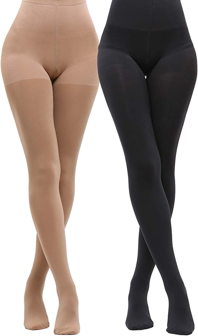 LASETA 120D 2 Pairs Opaque Tights for Women High Waist Control Top Pantyhose Tights for Winter