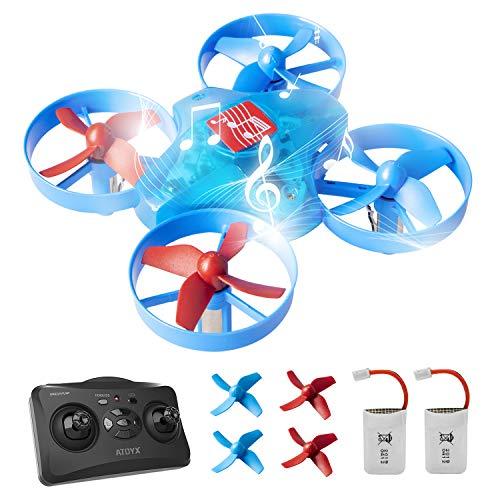 ATOYX Mini Drohne für Kinder, Drone mit Musik, 3D-Flip, Headless-Modus, Höhe Halten, 2 Batterien, EIN-Tasten-Rückkehr, Kinder und Anfänger AT-66M