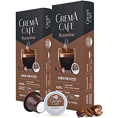 CREMA CAFÉ 20 Count Espresso Capsules | Intensity 6, M-Light Roasted | Single-Serve Coffee Pods Compatible with Nespresso Machines | Rich Crema | 100% Fair Trade Coffee | Doubly Sealed Safe Capsule