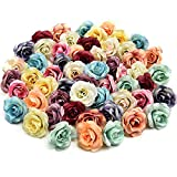 Fake flowers Bulk Fake Roses Artificial Flowers Silk Flowers Head Wedding Home Decoration Accessories DIY Wreath Gift Scrapbooking Craft Hotsale Artificial Roses Flower Decor 30pcs 3.5cm (Colorful)