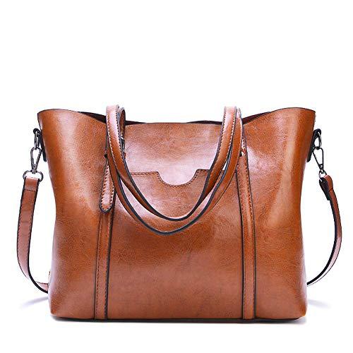 Borse da Donna,Popoti Pelle Borse a Tracolla Borsa a Mano Tote Messenger Bag Impermeabile Zaino Scuola Crossbody Hobo Bags Nuove Eleganti Tasche per Signora (Marrone)