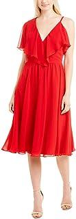 Dress the Population womens CLAUDIA SLEEVELESS RUFFLE FIT & FLARE MIDI DRESS Dress