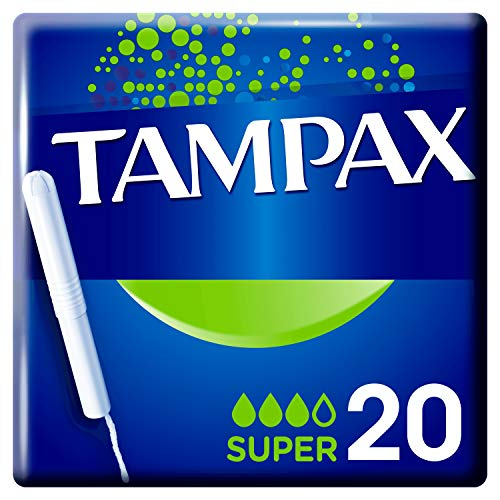 Tampax Super Tampons with Cardboard Applicator Leak Protection, Pack of 20
