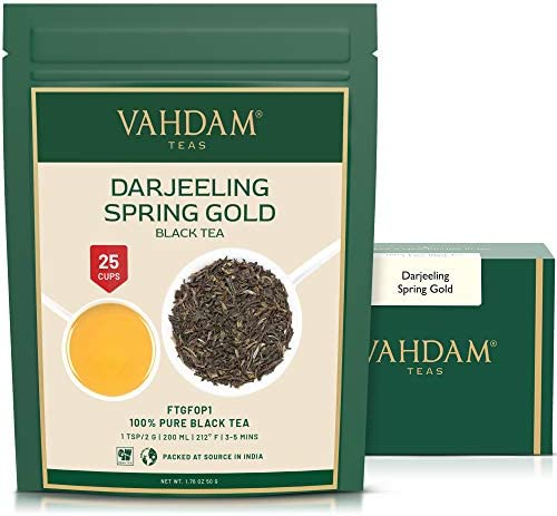 VAHDAM Spring Gold First Flush Darjeeling Tea 20 Cups Flowery Aromatic Delicious Picked Packed product image