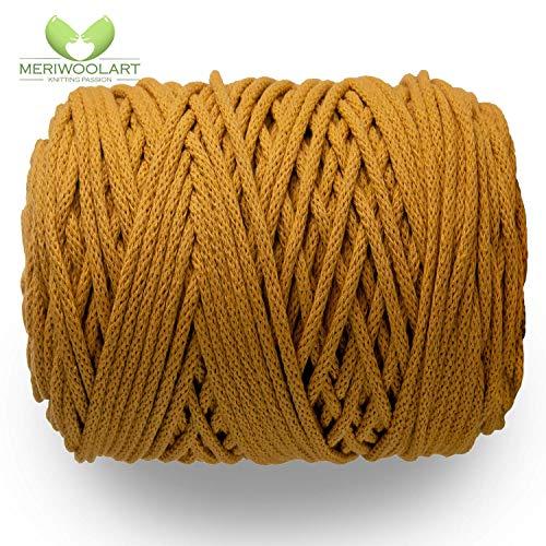 MeriWoolArt macramé macramé garen 6 mm, 100 m, 50 m katoenen koord, koord voor thepisch, kwasten, kussen, opbergmanden en katoen breien