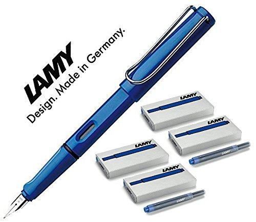 LAMY Füller SAFARI Füllhalter / Viele schöne Farben, auch im Set mit 20 Tintenpatronen in blau (Maxi mit 20 blauen Patronen, Blau (M)14)