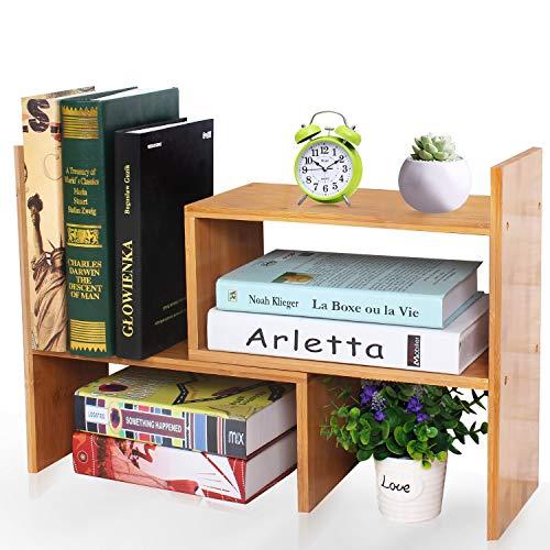 VSADEY Desk Storage Organizer Bamboo Adjustable Desktop Organizer Display Shelf Rack Bookshelf, Office Supplies Desk Organizer, Natural Wood