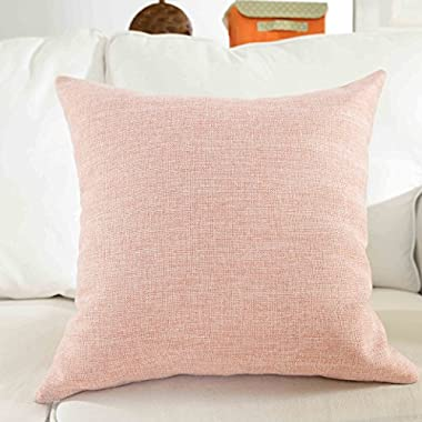 HOME BRILLIANT Lined Linen Cushion Cover Square Throw Pillow Case for Sofa/Bench/Couch, Baby Pink, 18 x18