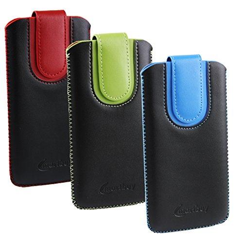 emartbuy Set 3 - Schwarz/Rot, Schwarz/BlauundSchwarz/Grün Premium PU Leder Slide in Hülle Tasche Sleeve Abdeckungs Halter (Size LM4) Mit Pull Tab Mechanism Passend für Allview X3 Soul Pro Smartphone