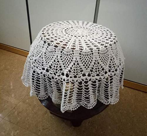 Ksde - Mantel de Crochet Hecho a Mano, 85 cm, 90 cm, Redondo, Mantel Individual de Cocina, Mesa de Comedor, Fiesta, Boda, Mantel de algodón, Blanco, 85 cm