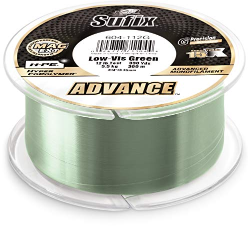"""Sufix, Advance Monofilament Line, 6 lbs Tested.010"""" Diameter, 330 Yards, Low Vis Green"""