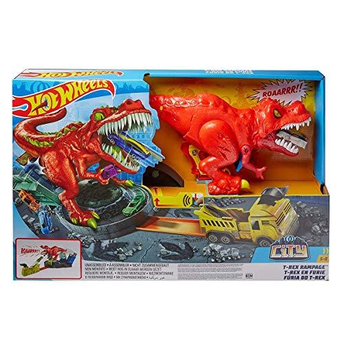 Hot Wheels City T-Rex Devorador Destructor, Pista de Coches de Juguete con Dinosaurio (Mattel GWT32), multicolor, única GFH88, Embalaje estándar