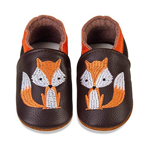 MAECKI - Zapatillas de piel suave para niños y niñas, antideslizantes, suela de ante, color, talla 0-6 meses ⭐