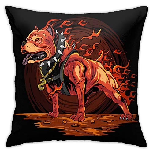 HXJIULI Dog Fire Pitbull from Hell ArtworkFarmhouse Decoration Pillow Cover Cushion Cover Home Decoration 18X18INCH