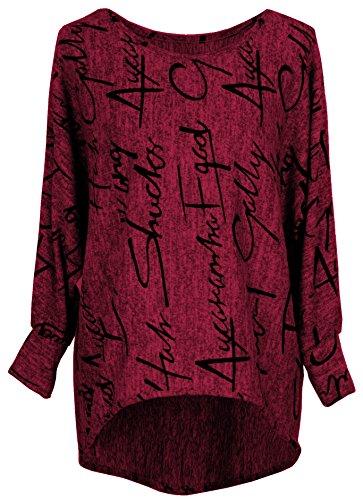 Emma & Giovanni - Pullover/Sweatshirt Oversize- Damen (M, Bordeaux)