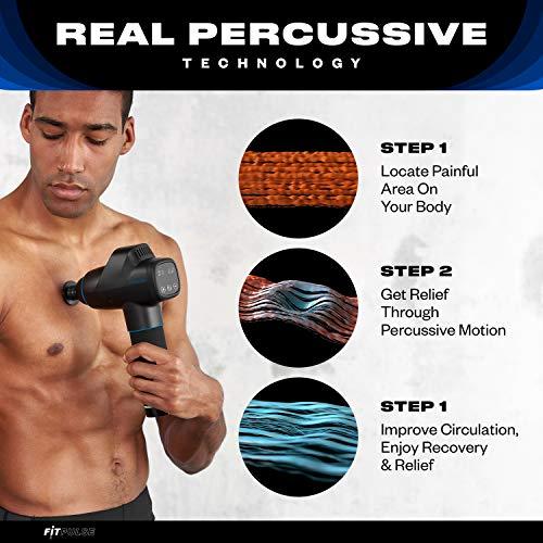 Massage Gun Deep Tissue Massager - Muscle Massage Gun Percussion Massage Gun for Athletes Percussion Massager Gun Deep Tissue Massage Gun Muscle Gun Massager Fascia Gun Black with Chrome Blue